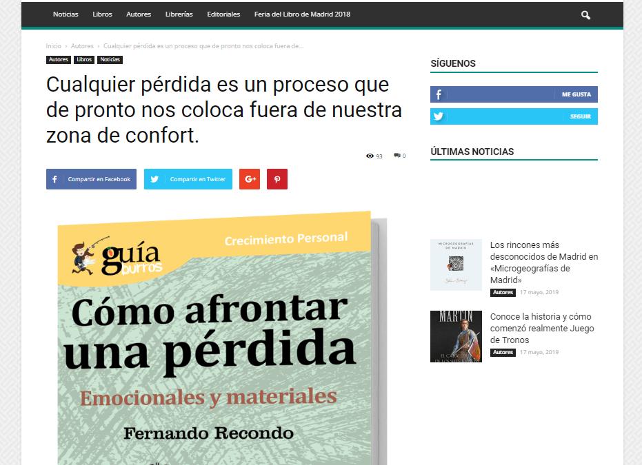"""Aparición del """"GuíaBurros: Cómo afrontar una pérdida"""" en el medio especializado Casa de Letras"""